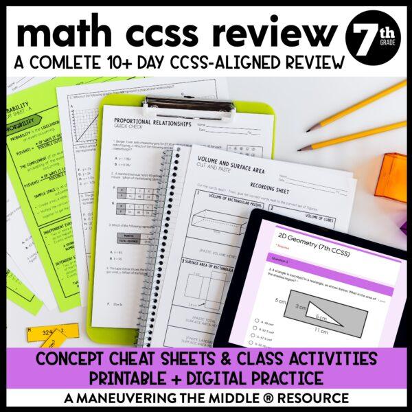 7th grade ccss test prep review