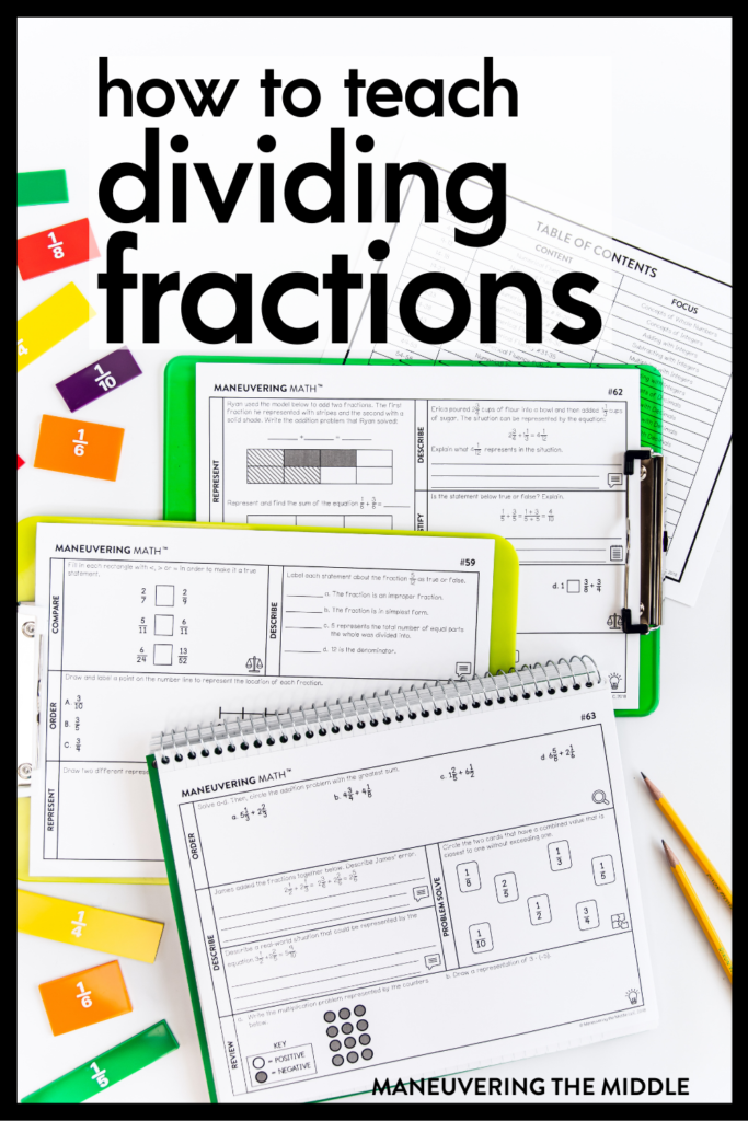 Dividing fractions is more than just an algorithm. Learn about the different types of division & how to use models to visualize the process. | maneuveringthemiddle.com