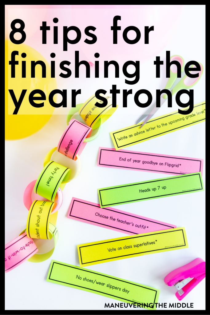 If you are needing some ideas to get you to the end of the school year, check out these end of the year ideas for middle school. | maneuveringthemiddle.com