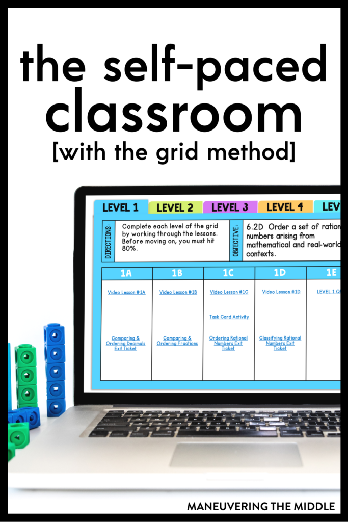 The self-paced classroom benefits students and teachers!  We share how to make it a reality in your classroom using the Grid Method. | maneuveringthemiddle.com