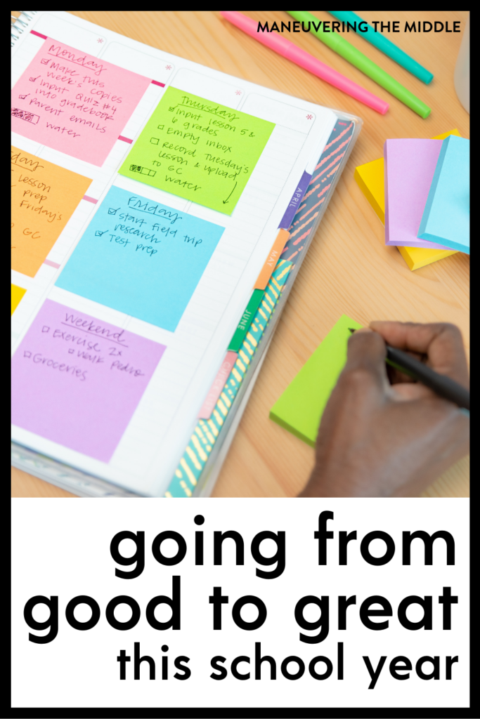 When is it time to make changes and when is it time to stay the course in your classroom?  Learn what to ask yourself before you make changes.    maneuveringthemiddle.com