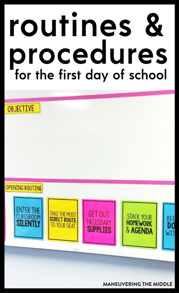 You never get a second chance to make a first impression. Find out my top middle school routines & procedures that should be taught on day 1. | maneuveringthemiddle.com