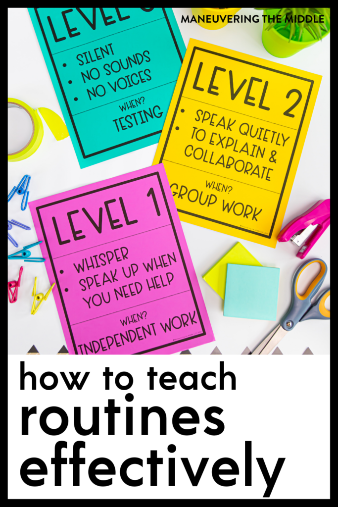 Teach students HOW to implement routines & procedures, so you can reap the benefits of time and energy saved. Teach routines that will stick!   maneuveringthemiddle.com
