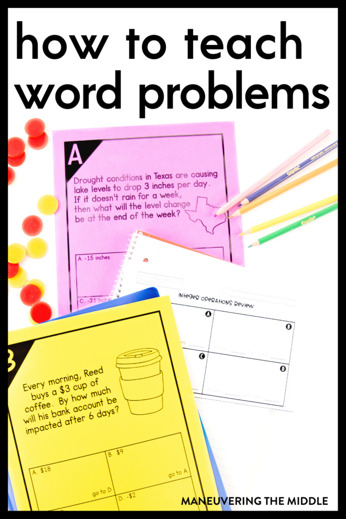 Word problems can be a challenge to teach. Tackle word problems with your students and find out what you should not be doing! | maneuveringthemiddle.com